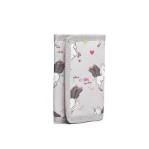 LB6897 --Domnisoara Lulu Child's Unicorn Tri-fold Wallet --Grey