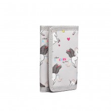 LB6897 - Miss Lulu Child's Unicorn Tri-fold Wallet - Grey