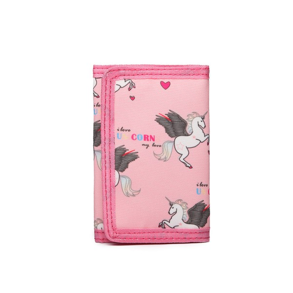 LB6897 - Miss Lulu Child's Unicorn Tri-fold Wallet - Pink