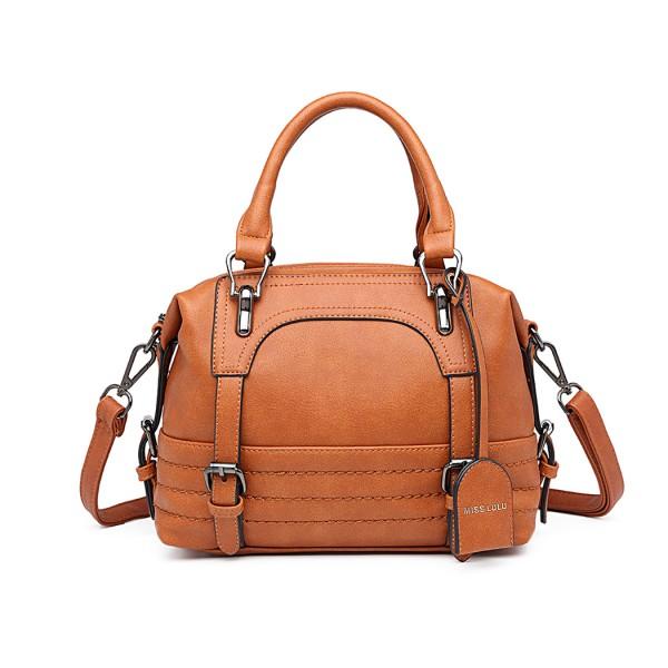 LB6902 - Miss Lulu Leather Look Shoulder Bag - Brown