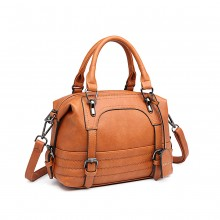 LB6902 - Miss Lulu Leather Look Shoulder Bag - Brown
