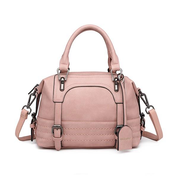 LB6902 - Miss Lulu Leather Look Shoulder Bag - Pink