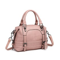 LB6902 --Miss Lulu Leather Look Shoulder Bag --Pink