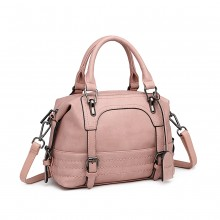 LB6902 - Miss Lulu Leather Look Shoulder Bag - Pink