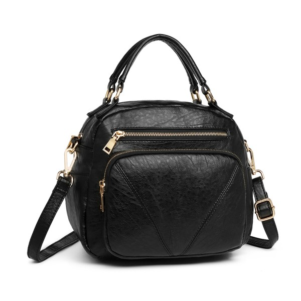 LB6907 - Miss Lulu Bowler Style Shoulder Bag - Black