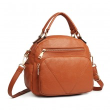 LB6907 - Miss Lulu Bowler Style Shoulder Bag - Brown