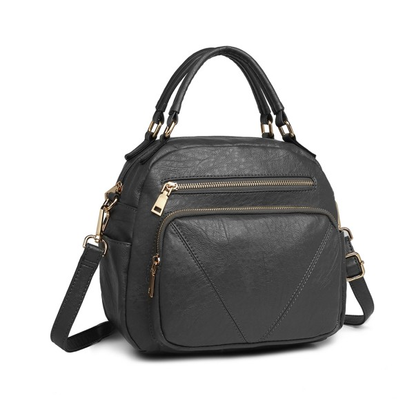 LB6907 - Miss Lulu Bowler Style Shoulder Bag - Grey
