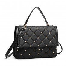 LB6908 - Miss Lulu Studded Quilted Shoulder Handbag - Black