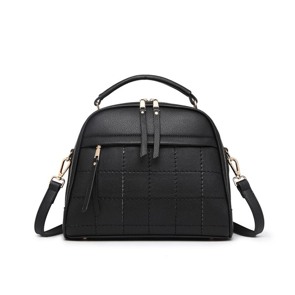 LB6919 - Miss Lulu Square Stitch Bowler Bag - Black
