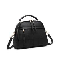 LB6919 - Miss Lulu Cuadrado Puntada Bowler Bag - negro