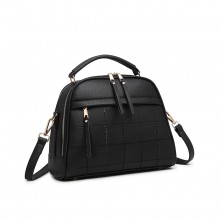 LB6919 - Miss Lulu Quadrat Stich Bowler Bag - Schwarz