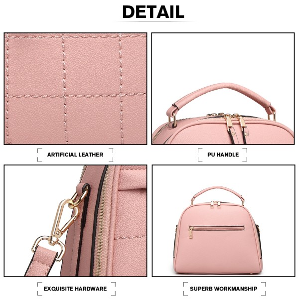 LB6919 - Miss Lulu Square Stitch Bowler Bag - Pink