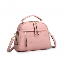 LB6919 - Miss Lulu Quadrat Stich Bowler Bag - Rosa