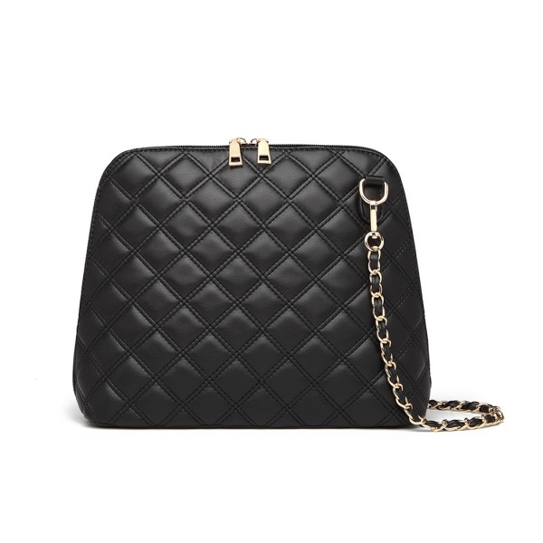 LB6920 - Miss Lulu Quilted Shoulder Cross Body Bag - Black