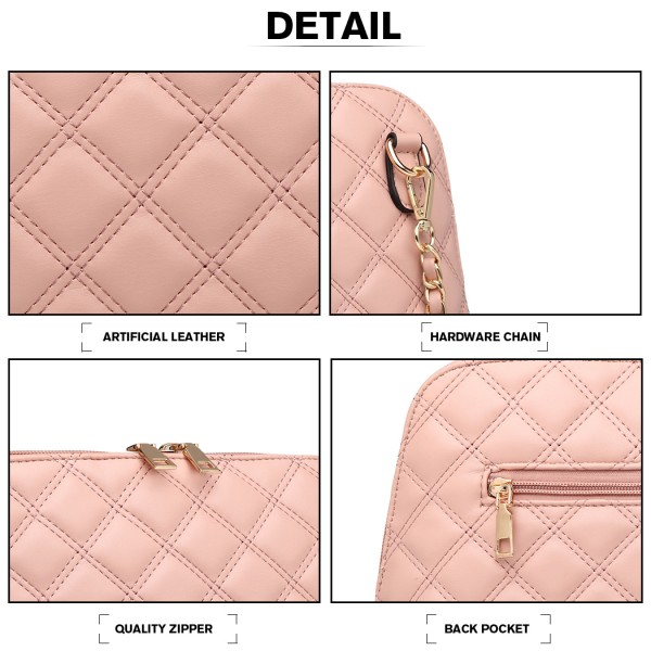 LB6920 - Miss Lulu Quilted Shoulder Cross Body Bag - Pink
