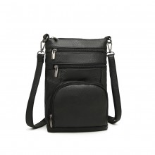 LB6927 - Kono Multi Pocket Leather Look RFID-Blocking Cross Body Bag - Black