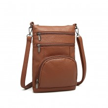 LB6927 - Kono Multi Pocket Leather Look RFID-Blocking Cross Body Bag - Brown