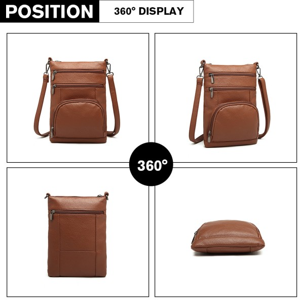 LB6927 - Kono Multi Pocket Leather Look Cross Body Bag - Brown