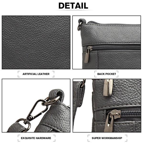 LB6927 - Kono Multi Pocket Leather Look Cross Body Bag - Grey