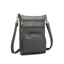 LB6927 - Kono Multi Pocket Leather Look RFID-Blocking Cross Body Bag - Grey