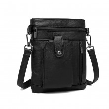 LB6933 - Miss Lulu Multi Compartment Cross Body Shoulder Bag - Black
