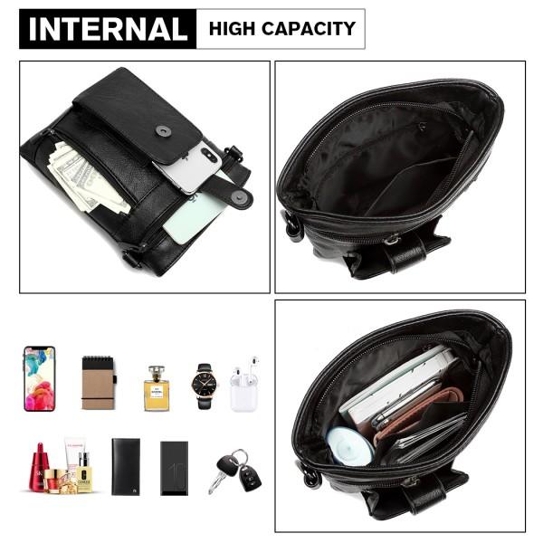 LB6933 - Miss Lulu Multi Compartment Cross Body Shoulder Bag - Black