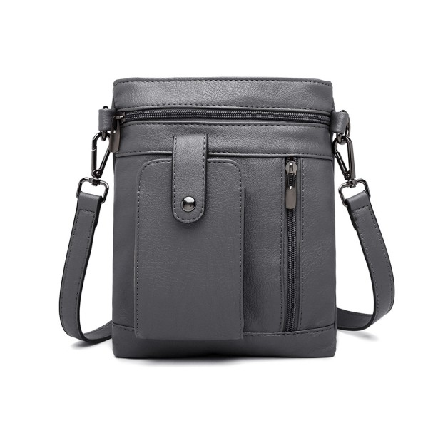 LB6933 - Miss Lulu Multi Compartment Cross Body Shoulder Bag - Grey