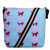 LC1632NDG - Miss Lulu Regular Canvas Square Bag Dog Blue