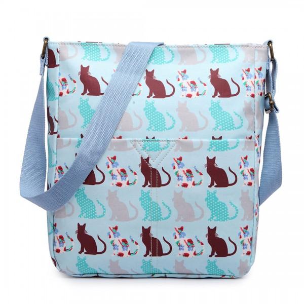 LC1644CT - Miss Lulu Regular Matte Oilcloth Square Bag Cat Blue