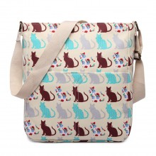 LC1644CT - Miss Lulu Regular Matte Oilcloth Square Bag Cat Beige