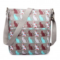 LC1644CT - Miss Lulu Regular Matte Oilcloth Square Bag Cat Grey