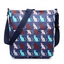 LC1644CT - Miss Lulu Regular Matte Oilcloth Square Bag Cat Navy