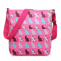 LC164CT - Panna Lulu Regularna Matte Oilcloth Square Bag Cat Pink