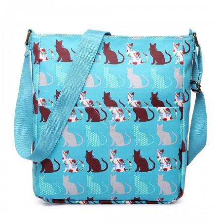 LC1644CT - Miss Lulu Regular Matte Oilcloth Square Bag Cat Teal