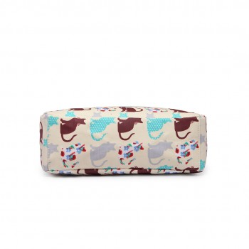 LC1644CT - Miss Lulu Regular Matte Oilcloth Square Bag Cat Beige