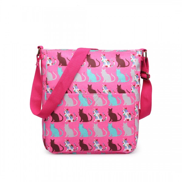 LC1644CT - Miss Lulu Regular Matte Oilcloth Square Bag Cat Pink