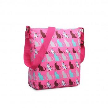 LC1644CT - Miss Lulu Regular Matte Oilcloth Square Bag Cat Pink