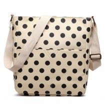 LC1644D2 - Miss Lulu Regular Matte Oilcloth Square Bag Polka Dot Beige With Black