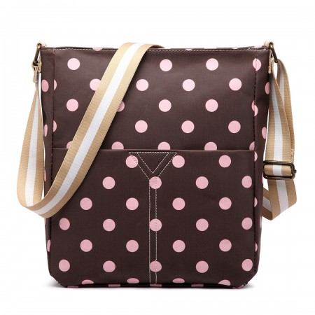 LC1644D2 - Miss Lulu Regular Matte Oilcloth Square Bag Polka Dot Coffee With Pink