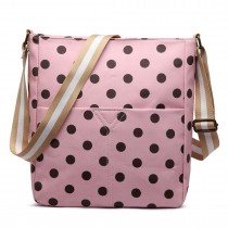 LC1644D2 - Miss Lulu Regular Matte Oilcloth Square Bag Polka Dot Pink With Coffee
