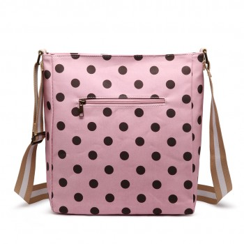 LC1645D2 - Miss Lulu Small Matte Oilcloth Square Bag Polka Dot Pink With Coffee