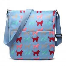 LC1644NDG - Miss Lulu mittelgroße matt Wachstuch quadratische Tasche Hunde Blau
