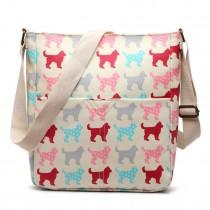 LC1644NDG - Miss Lulu Regular Matte Oilcloth Square Bag Dog Beige
