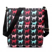 LC1644NDG - Miss Lulu Regular Matte Oilcloth Square Bag Dog Black