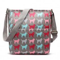 LC1644NDG - Miss Lulu Regular Matte Oilcloth Square Bag Dog Grey