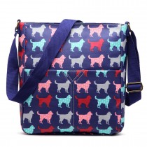 LC1644NDG - Miss Lulu Regular Matte Oilcloth Square Bag Dog Navy