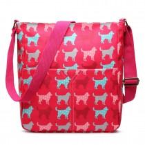 LC1644NDG - Miss Lulu Regular Matte Oilcloth Square Bag Dog Plum