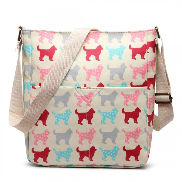 LC1645NDG - Miss Lulu Small Matte Oilcloth Square Bag Dog Beige