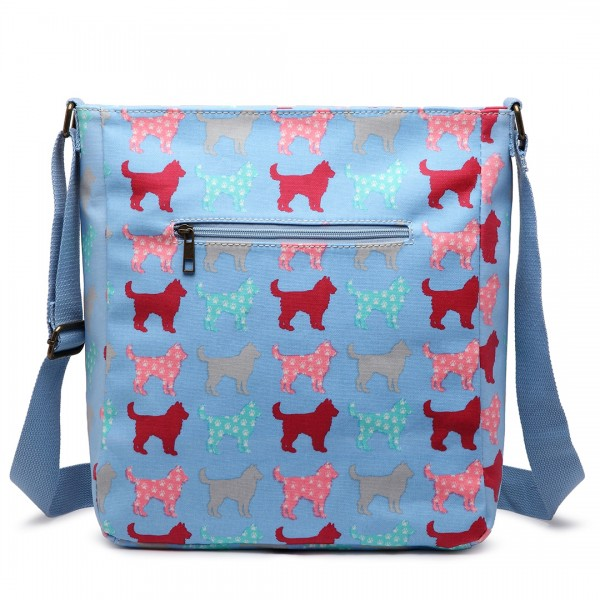 LC1644NDG - Miss Lulu Regular Matte Oilcloth Square Bag Dog Blue