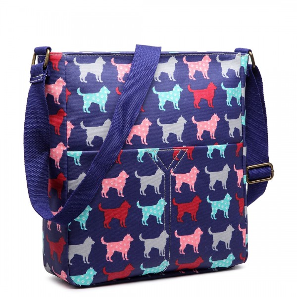 LC1645NDG - Miss Lulu Small Matte Oilcloth Square Bag Dog Navy